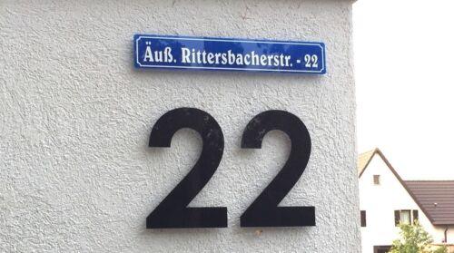 Emaille Plexiglas//Acryl Straßenschild mit Hausnummer