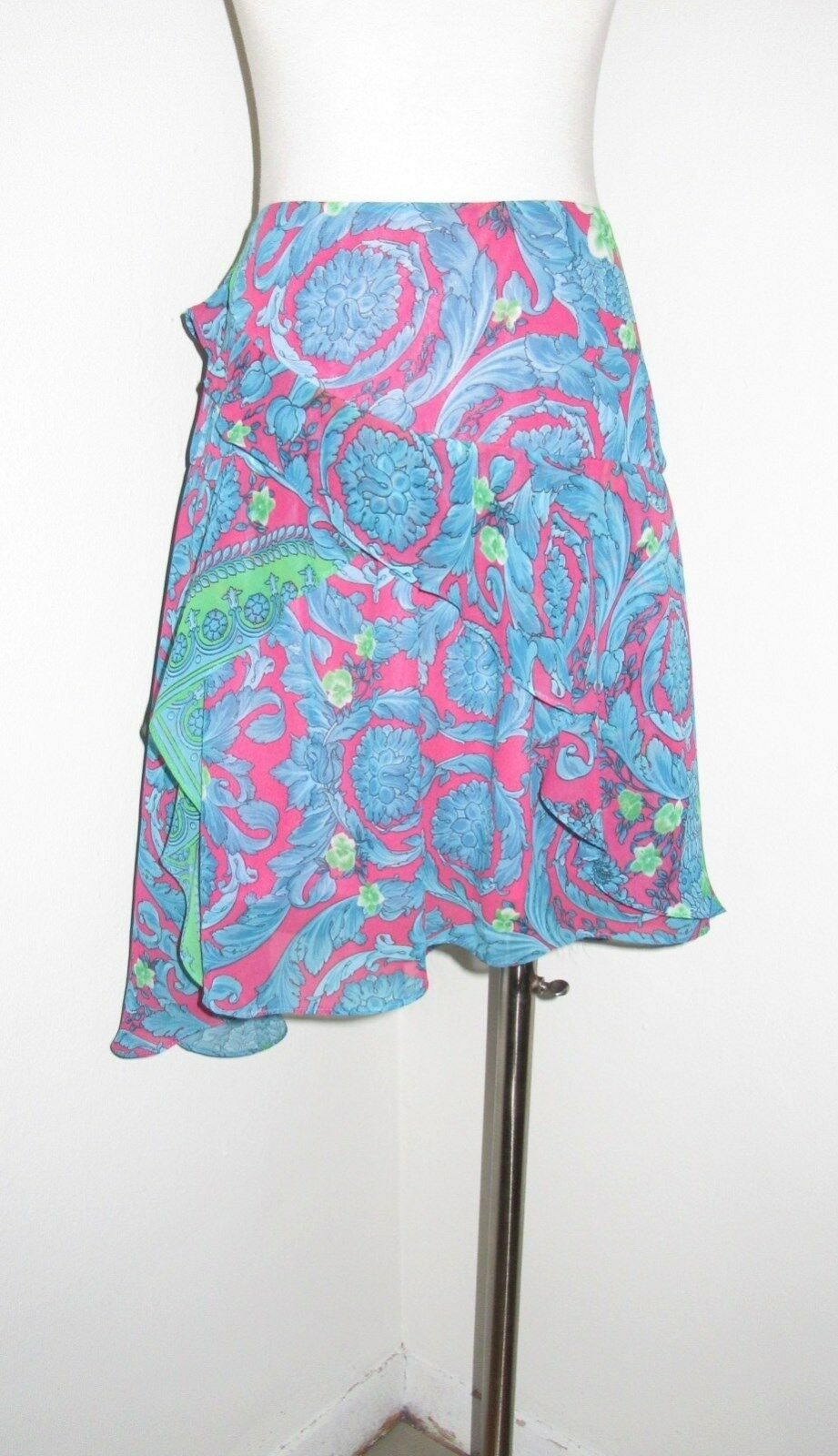 VERSACE JEANS COUTURE BAROQUE PRINT LAYErot RUFFLE SKIRT 28 42