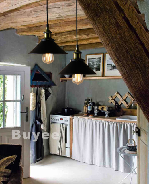 VINTAGE INDUSTRIAL METAL LOFT BAR BLACK PENDANT LIGHT LAMP SHADE EDISON BULB E27