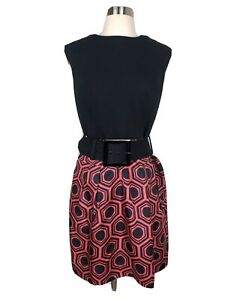 Milly of New York Black and Pink Silk Dress Geometric Print Womens Size 8