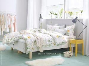 Ikea Strandkrypa Duvet Comforter Cover Set White Floral