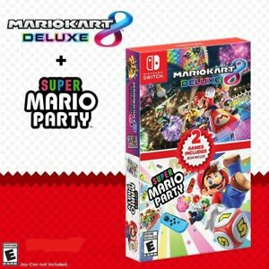 Mario Kart 8 Deluxe + Super Mario Party Two Game (Double Pack) - Nintendo Switch