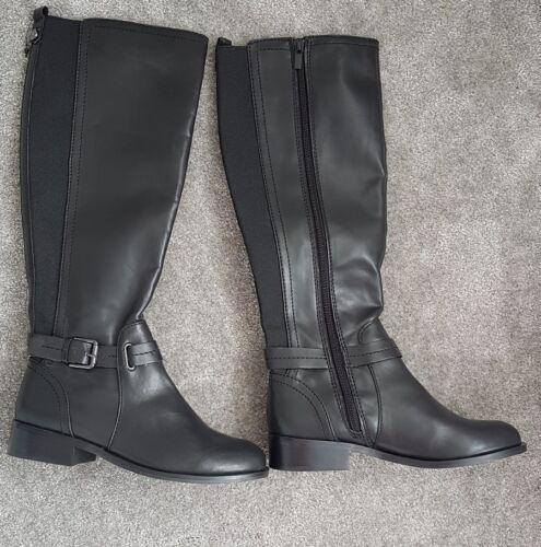 Nuevo Unido 4 negras Reino de Botas Tamaño largos botas siguiente cuero zapatos FSwqrF