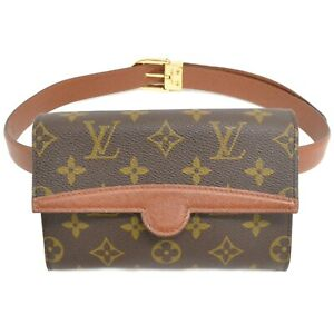 Louis-Vuitton-Pochette-Arche-M51975-Monogram-Waist-Body-Bag-Pouch-Brown-Gold
