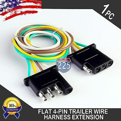 12ft trailer light wiring harness extension 4 pin 18 awg flat wire connector ebay 5 wire trailer wiring harness diagram