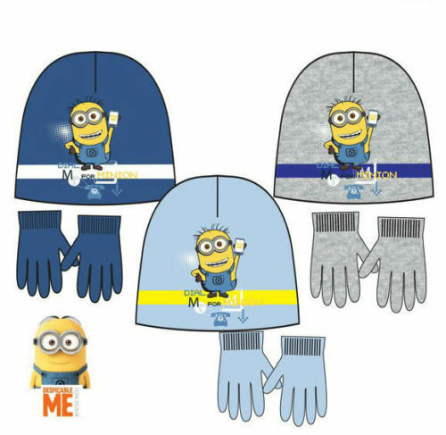 Boys Minions hat winter hat with gloves 52 and 54 cm