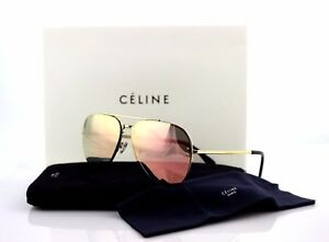 a05bdc8f35 RARE Genuine CELINE MIRROR SMALL Gold Rose Pilot Sunglasses CL 41392 ...