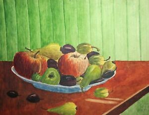 Fauvist-watercolor-painting-still-life-with-fruits-signed