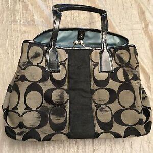 Coach Black   Gray Canvas Monogram Purse Bag Handbag Authentic Logo ... c45e2f8e10468