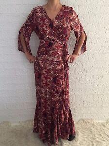 Women-039-s-3-4-Sleeve-Boho-Summer-Wrap-Maxi-Long-Party-Casual-Evening-Dress-Size-14