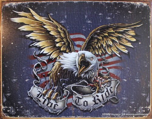 Eagle Tin Sign  Motorcycle Biker Enthusiast Live to Ride