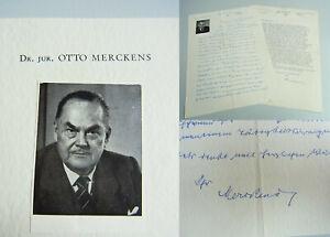 Strong-Willed Jurist Otto Merckens 1878-1962 2 Briefe Bad Eilsen 1958 Und 1960 An Thorner