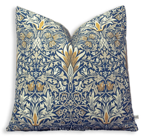 William Morris Luxury Designer Snakeshead Blue Vintage Cushion Pillow Cover