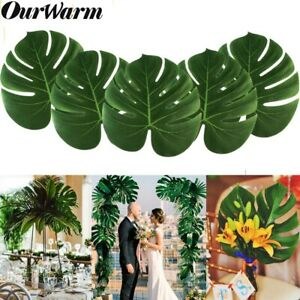 60x-Green-Leaves-Artificial-Hawaiian-Palm-Tree-Leaves-Tropical-Party-Table-Decor