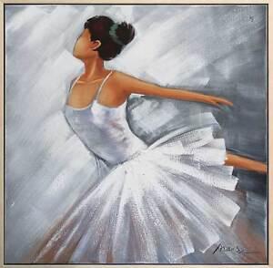 Original-Gemaelde-Taenzerin-Ballerina-Tanzen-Olgemaelde-mit-Rahmen-Bild-84x84cm