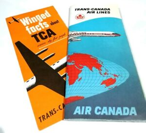 Details about Trans Canada Airlines 2 Flight Leaflet Pack Winged Facts Air  Route Map Aircraft