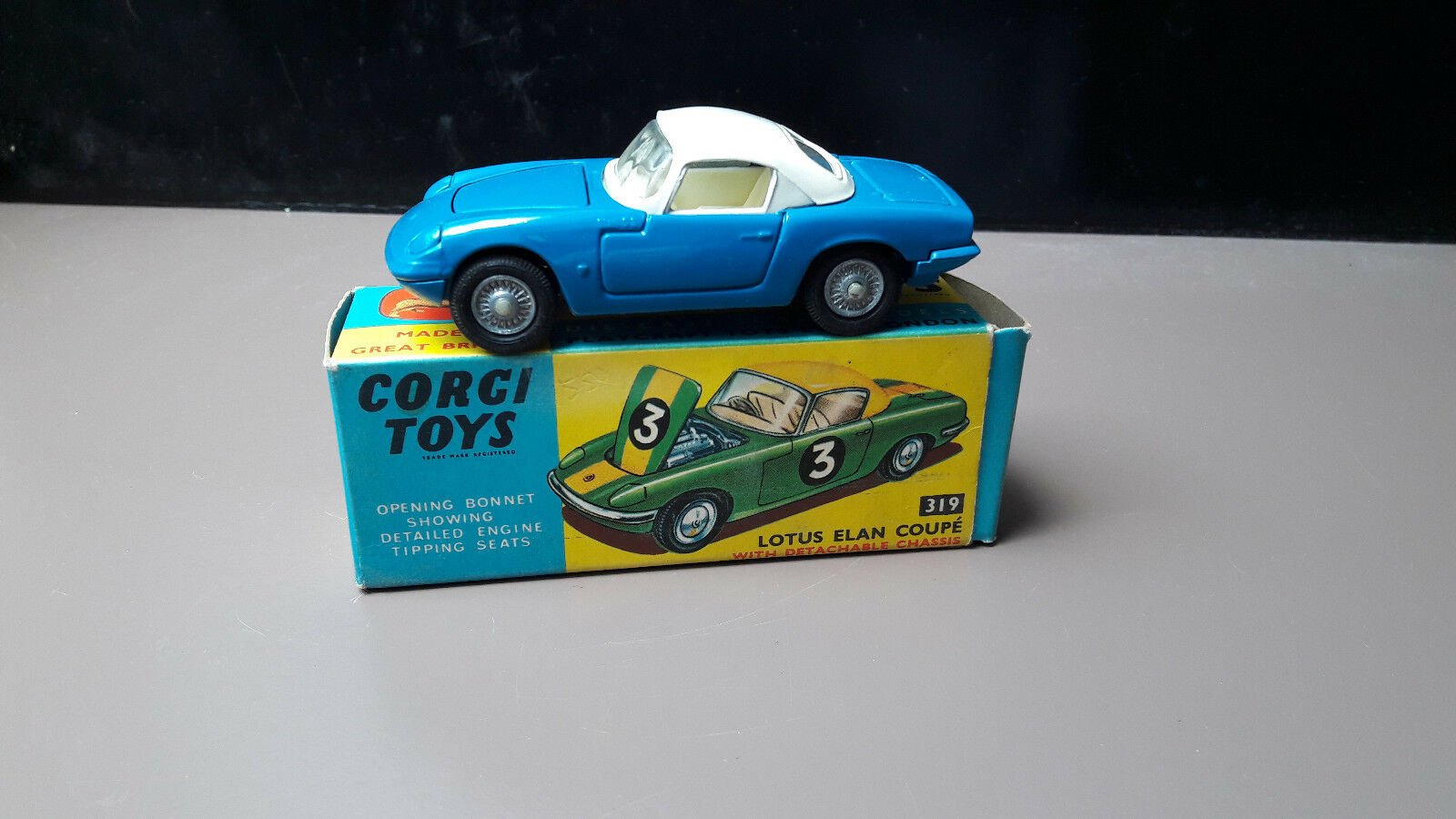 Corgi spielzeug 319 lotus elan coupé original mit ovp nm