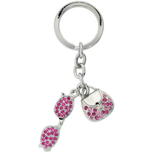 Key Ring Purse /& Sunglasses Key Chain Key Holder w// Brilliant Cut Crystals