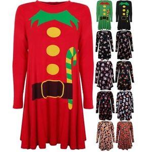 Damen Weihnachten Neuheit Santa Rentier-Aufdruck Weihnachtsparty Swing Kleid Top