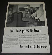 Magazine Print Ad 1941 Art Go PULLMAN Mr Me goes to town for comfort train.