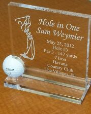 Hole in One Golf Ball Trophy - Award - Plaque - Crystal Clear - 2017