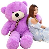 New Big Purple Huge Plush Stuffed Soft ribbon Teddy Bear Doll Gift Cotton 120cm