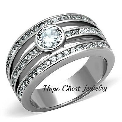 WOMEN'S SILVER STAINLESS STEEL ROUND CUT BEZEL SET CZ ENGAGEMENT RING SIZE 5-10