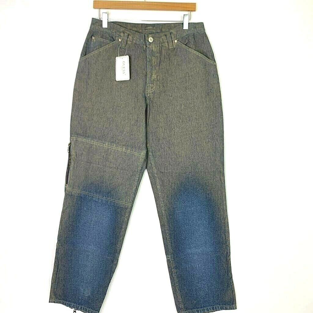 GUESS Mens Vintage Jeans Cryptic Camouflage bluee Distressed Relaxed Denim 31x31