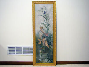 1-LARGE-Antique-OIL-ON-CANVAS-PAINTING-CHERUBS-PLAYING-IN-FLOWERS