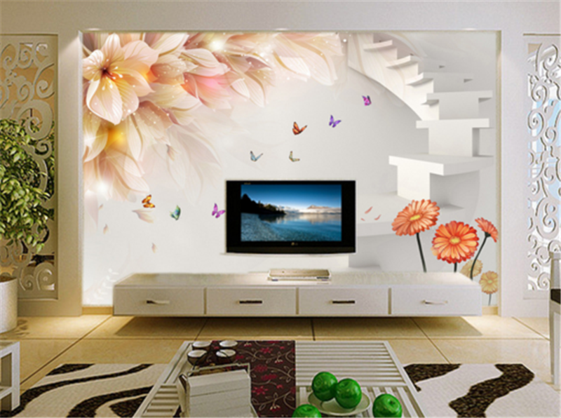 3D Flower Ladder Butterfly8 Wallpaper Mural Paper Wall Print Wallpaper Murals UK