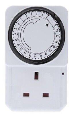 24 Ora Elettrica Plug-in Timer Interruttore Di Blocco Presa 24hr Timer 3 Pin Adattatore-