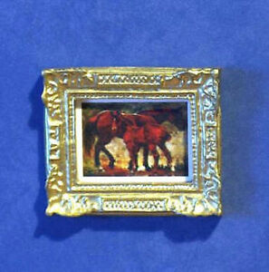 1/12 Dolls House miniature Horse Painting Picture Mother Foal Lounge Horses LGW