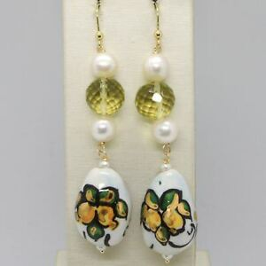 YELLOW-GOLD-EARRINGS-750-18K-WITH-PEARLS-AND-DROP-HAND-PAINTED-MADE-IN-ITALY