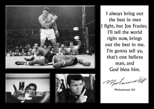 Muhammad Ali 18 Famous Motivation Quote Boxing Legend Signed Poster Black White