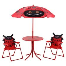 Kids Patio Set Table And 2 Folding Chairs W Umbrella Beetle Outdoor Garden Yard