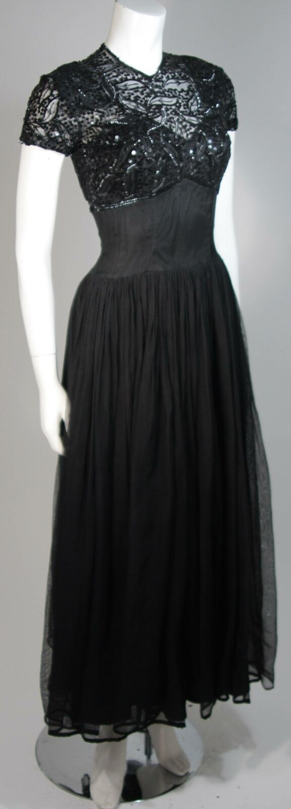 CEIL CHAPMAN Attributed Black Gown Size Small - image 5