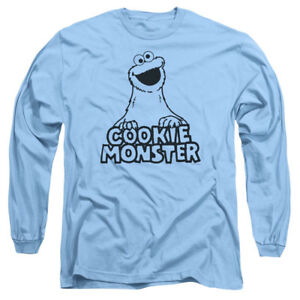 Sesame-Street-VINTAGE-COOKIE-MONSTER-Licensed-Adult-Long-Sleeve-T-Shirt-S-3XL