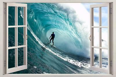 Extreme Wave Surfing 3D Window View Decal WALL STICKER Decor Art Mural Ocean Sea
