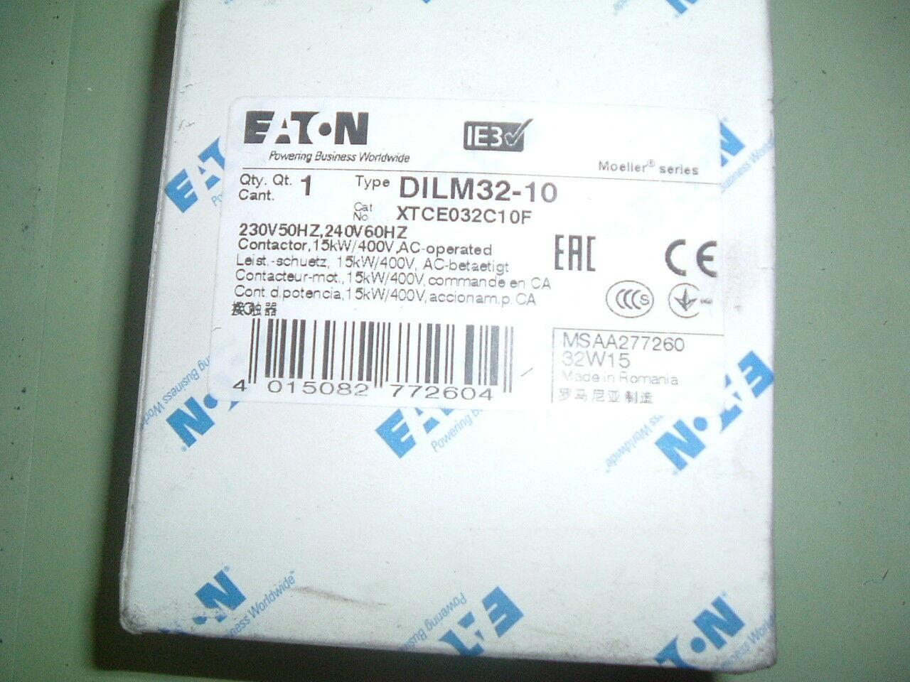 DILM 32-10 Contactor 230//240 VCA Eaton Moeller. 50//60 Hz Nuevo Empaquetado..