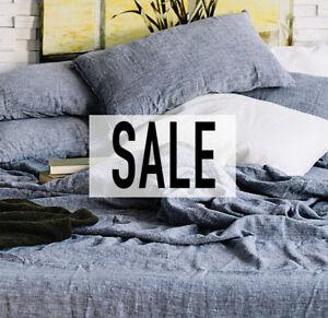 100-linen-PILLOW-CASE-Cushion-Cover-Stonewashe-dusty-blue-Decorative-pillow