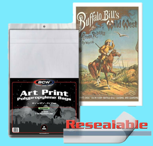50 BCW 11x17 RESEALABLE ART PRINT 2 MIL BAGS New Storage Photo Poster Archival
