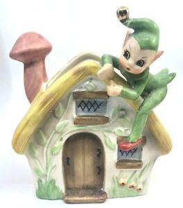 Vintage-Josefs-Originals-Elf-Pixie-on-House-Planter-Beautiful
