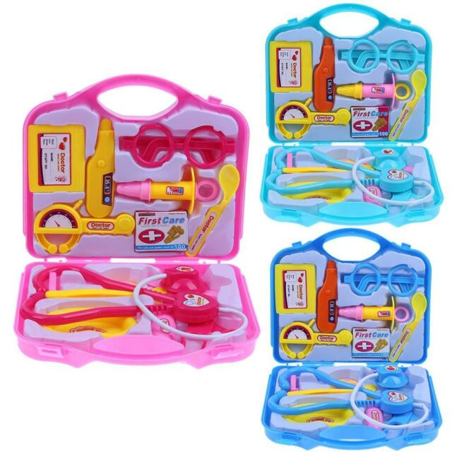 PM Kids Pretend Doctor Trolley Case Stethoscope Medical Tools Play set Play Toy Blue
