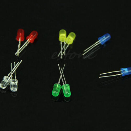 Set 5 Farben 5mm LED-Licht diffundiert sortierte superhelle LEDs  ZP 100x