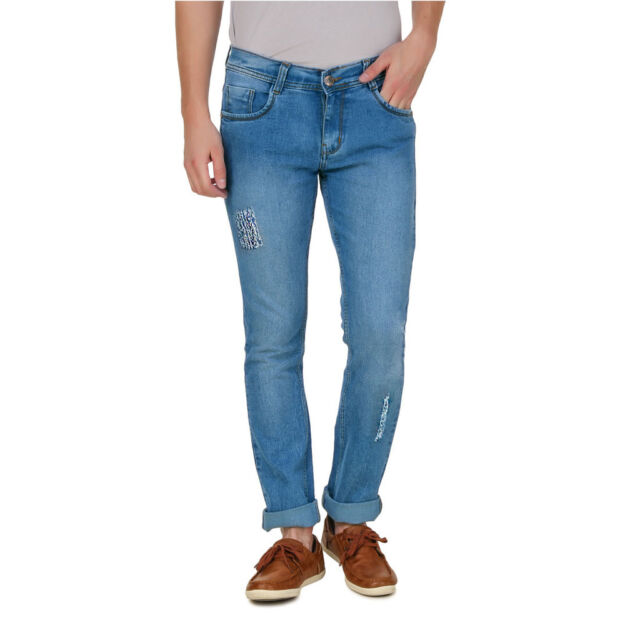 Haltung Men's Distress7 Light  Blue Slim Fit Jeans (HAL-MJ-DISTRESS7-LB)