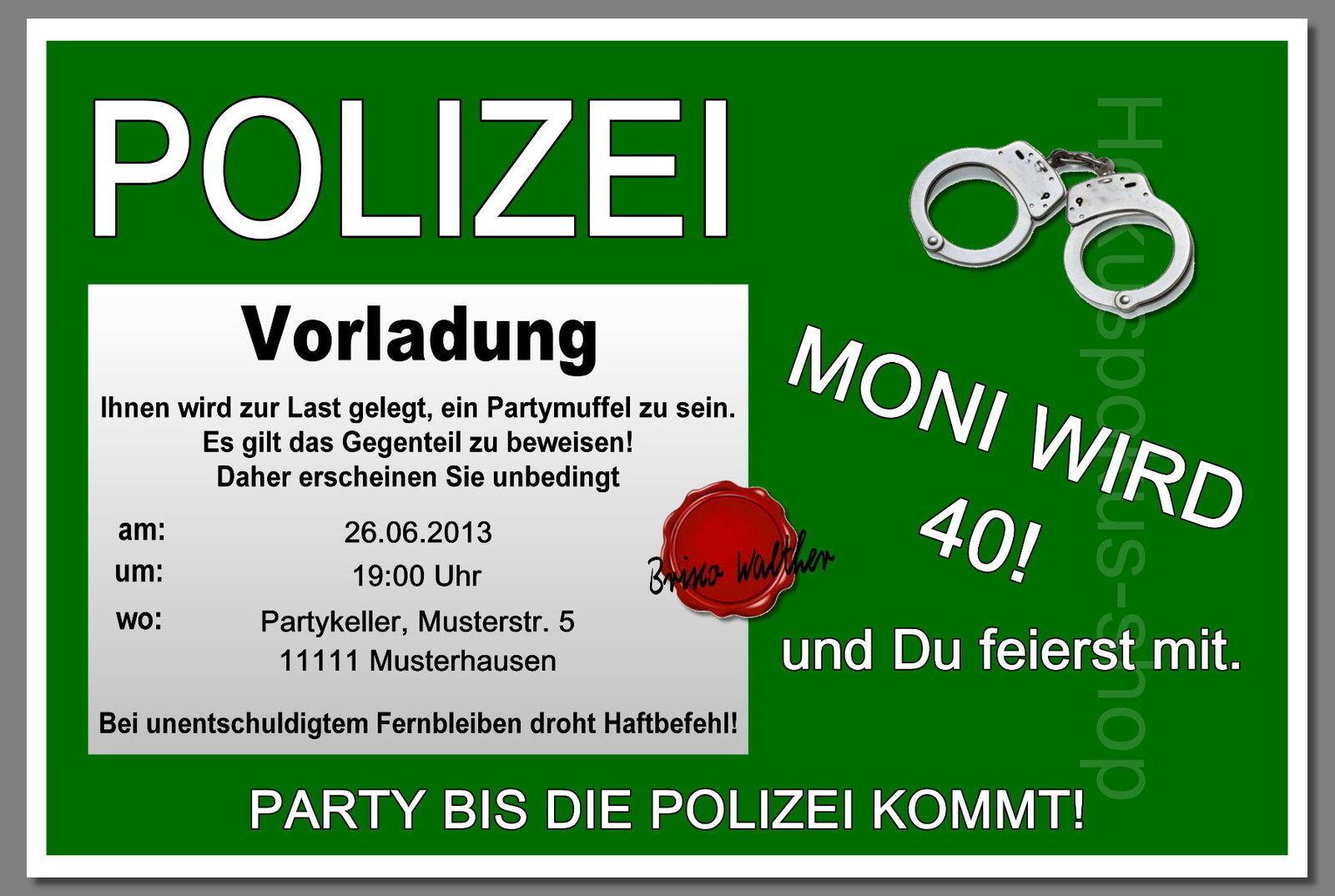 50 lustige Einladungskarten POLIZEI Geburtstag Einladungen jedes Alter möglich
