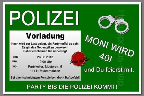 30 Einladungskarten POLIZEI Geburtstag Einladungen jedes Alter möglich 40 50 60