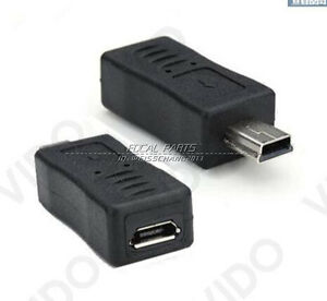 2x Micro Usb Female To Mini Usb Male Adapter Charger Converter
