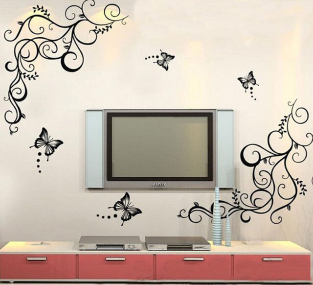 Butterfly Wisteria Flowers Vine Art Vinyl Wall Decal Stickers Home Decor Excelle