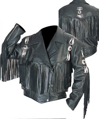 Vipzi Western Women Real Suede Leather Jacket with Fringes XS TO 5XL
